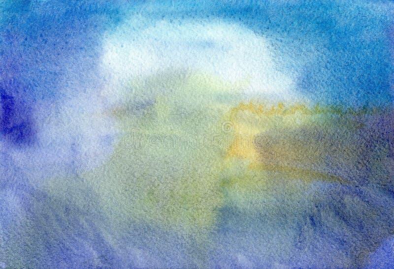 Unscharfer Hintergrund der Zusammenfassung blaues gelbes Aquarell stock abbildung