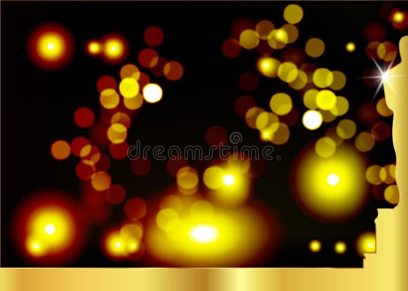 Unscharfer schwarzer Hintergrund mit goldenem Statuenschattenbild Oscarikone in der flachen Art Goldschattenbild-Statuenikone fil vektor abbildung