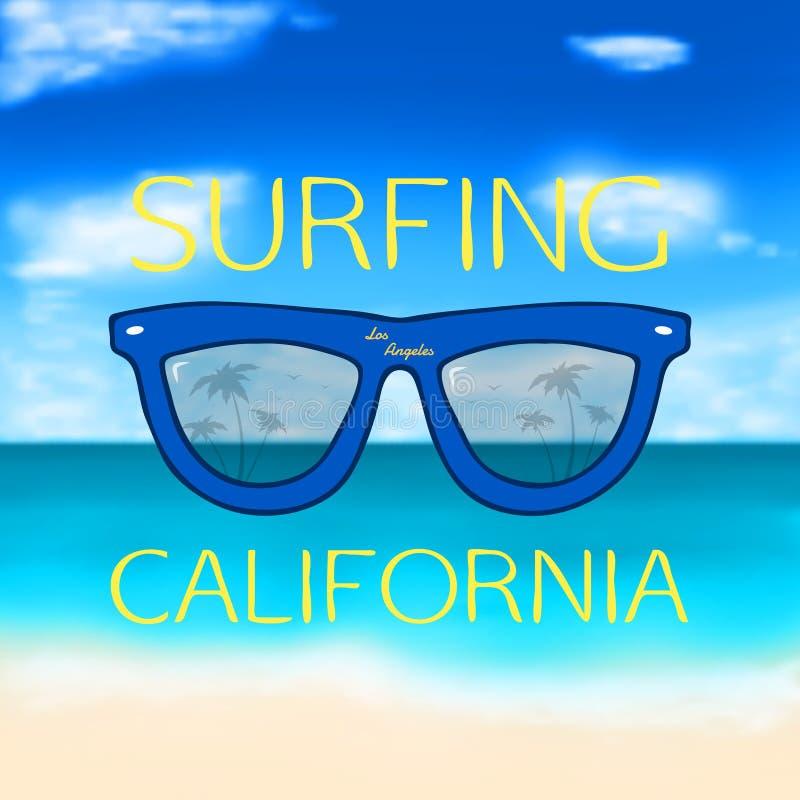 Unscharfer Sommerhintergrund mit Gläsern stock abbildung
