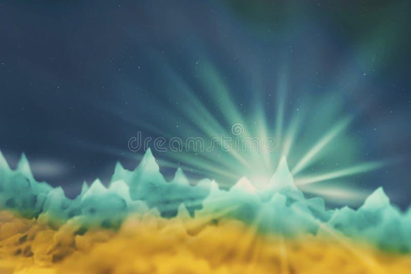 Unscharfes Bild des Sternes, der auf einen unbekannten Planeten im Gelb steigt stock abbildung