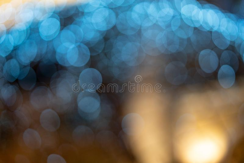 Unscharfes bokeh Blau, schöne Tapete für eine festliche Stimmung stockbild