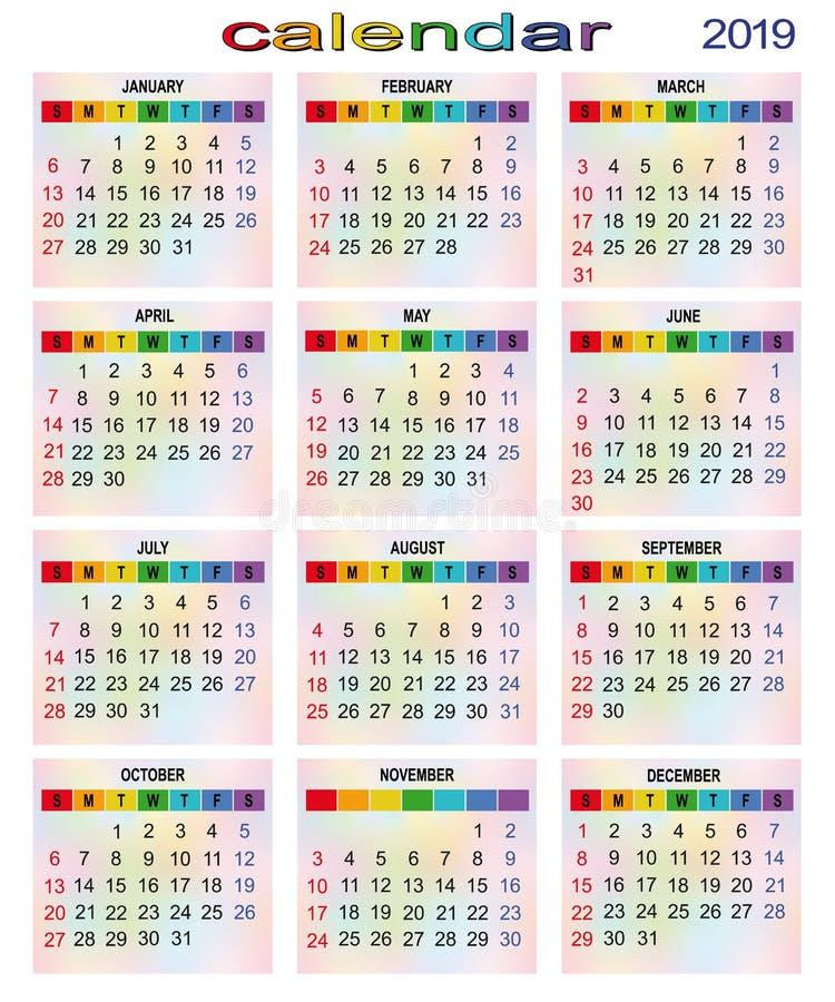 Unscharfes cCalendar für 2019-jähriges Alle daysblurred stockfoto