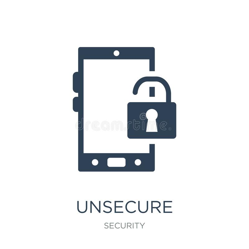 unsecure icon in trendy design style. unsecure icon isolated on white background. unsecure vector icon simple and modern flat royalty free illustration