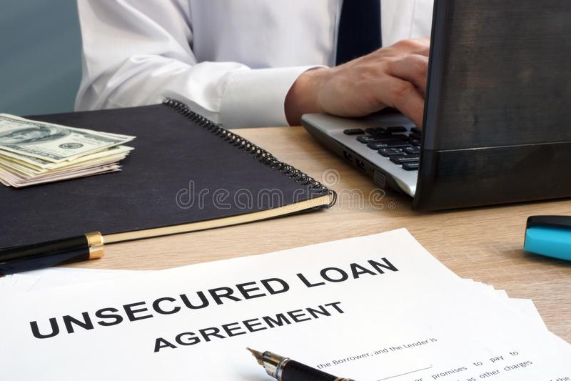 Unsecured loan form in an office. royalty free stock photography