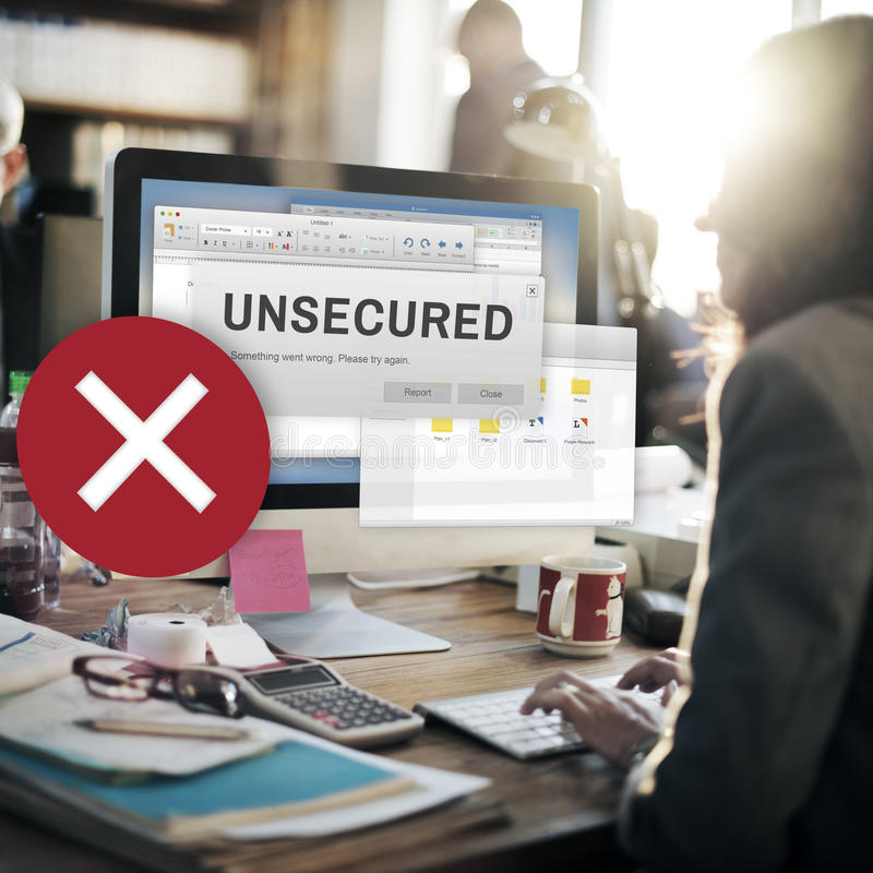 Unsecured Virus Detected Hack Unsafe Concept stock images