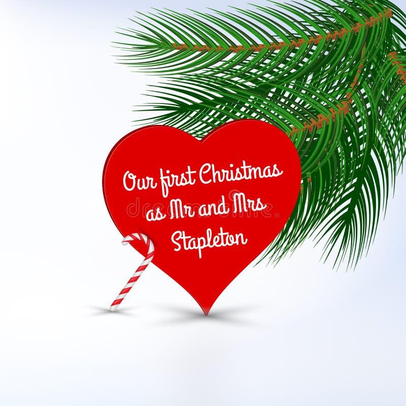 Unser erstes Weihnachten als Herr und Frau Datei der vektoreinladungs-Karte template Frohe Weihnacht-und guten Rutsch ins Neue Ja stock abbildung