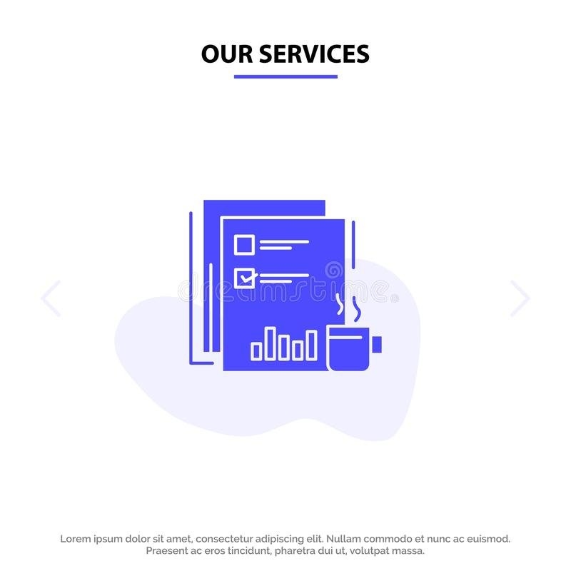 Unser Service-Kaffee, finanziell, Markt, Nachrichten, Zeitung, Zeitungen, feste Glyph-Ikonen-Netzkarte Papierschablone lizenzfreie abbildung