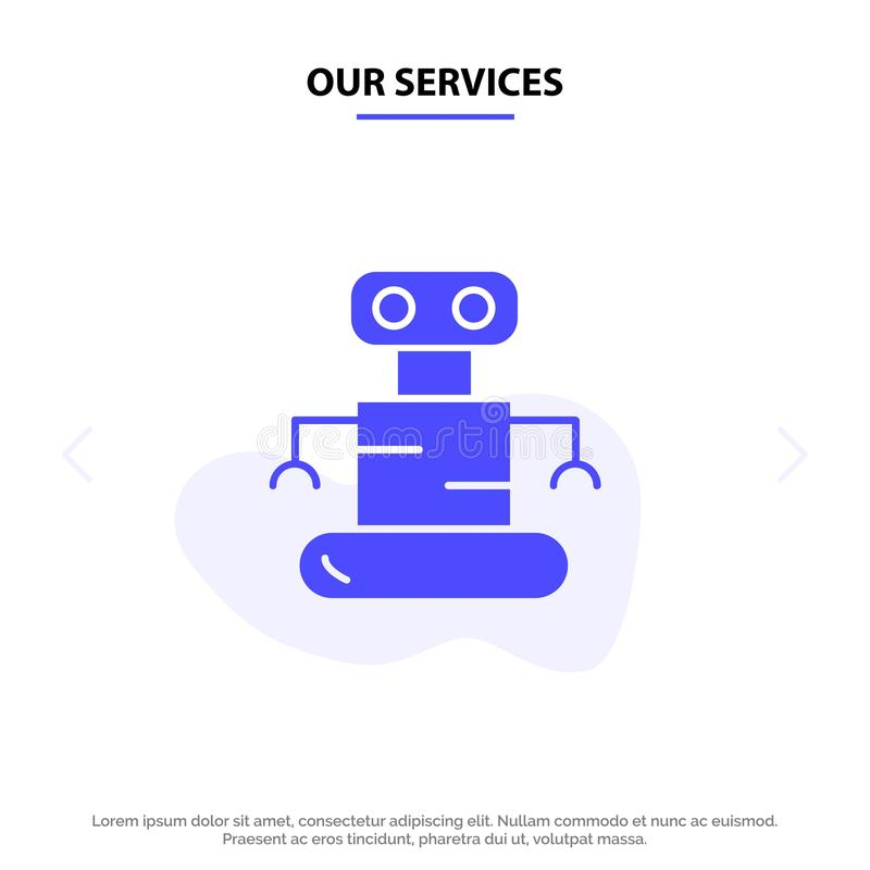 Unser Services Exoskeleton, Roboter, Raum feste Glyph-Ikonen-Netzkarte Schablone lizenzfreie abbildung