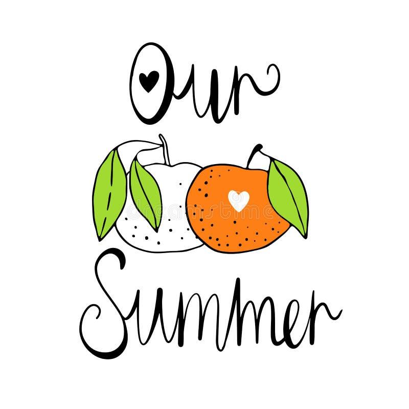 Unser Sommer Vektorillustration mit Zitrusfrüchten Skandinavische Motive Eigenhändig zeichnen Netter, bunter Druck vektor abbildung