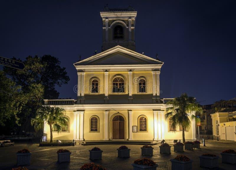 Unsere Dame der Carmo-Marksteinkirche in taipa Macao-Porzellan stockbilder
