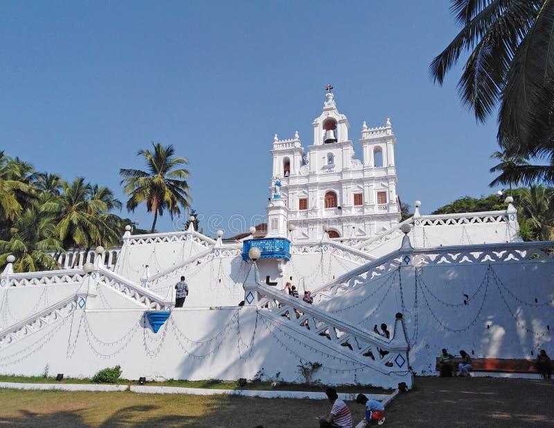Unsere Dame der Kirche der Unbefleckten Empf?ngnis in Panjim Panaji, Goa, Indien lizenzfreie stockfotos