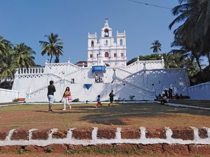 Unsere Dame der Kirche der Unbefleckten Empf?ngnis in Panjim Panaji, Goa, Indien stockbilder