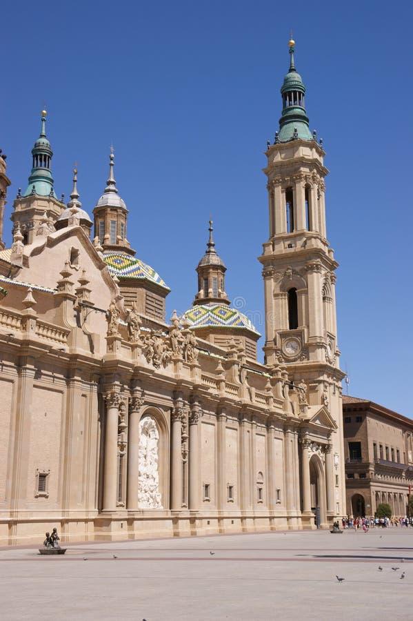 Unsere Dame der Pfosten-Basilika in Zaragoza, Spanien stockfoto