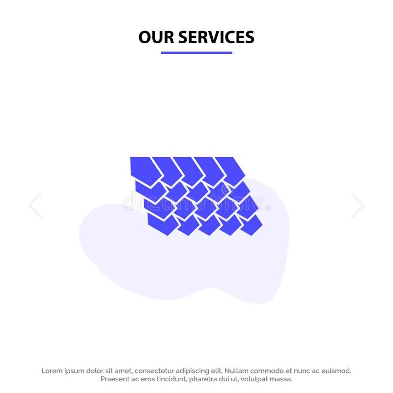 Unsere Dienstleistungen überdachen, decken mit Ziegeln, übersteigen, Bau feste Glyph-Ikonen-Netzkarte Schablone stock abbildung