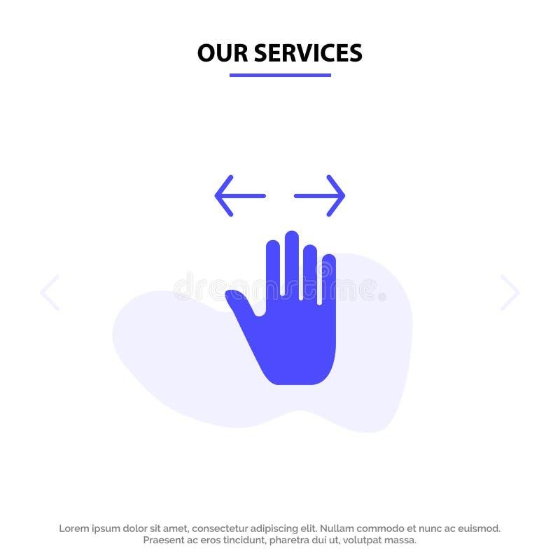 Unsere Dienstleistungen übergeben, gestikulieren, links, Recht, laut summen heraus feste Glyph-Ikonen-Netzkarte Schablone vektor abbildung