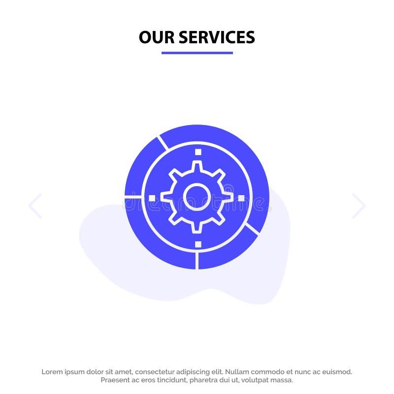 Unsere Dienstleistungen übersetzen, Einstellungen, Einrichtung, Maschine, Prozess feste Glyph-Ikonen-Netzkarte Schablone stock abbildung