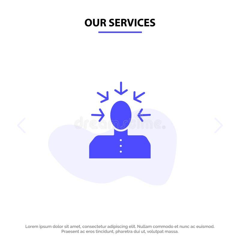 Unsere Dienstleistungen auserlesen, wählend, Kritik, menschlich, Person feste Glyph-Ikonen-Netzkarte Schablone vektor abbildung