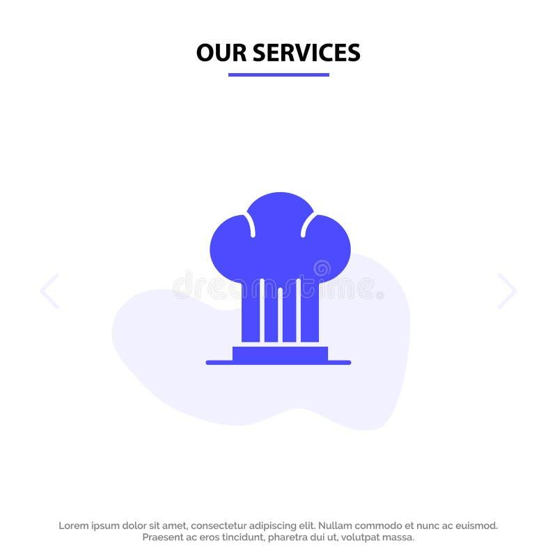 Unsere Dienstleistungen bedecken, Chef, Kocher, Hut, Restaurant feste Glyph-Ikonen-Netzkarte Schablone mit einer Kappe vektor abbildung