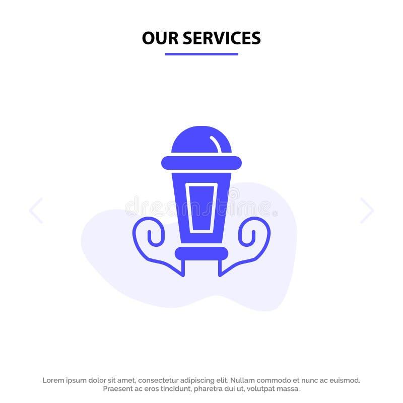 Unsere Dienstleistungen beleuchten, Nacht, Lampe, Laterne feste Glyph-Ikonen-Netzkarte Schablone stock abbildung