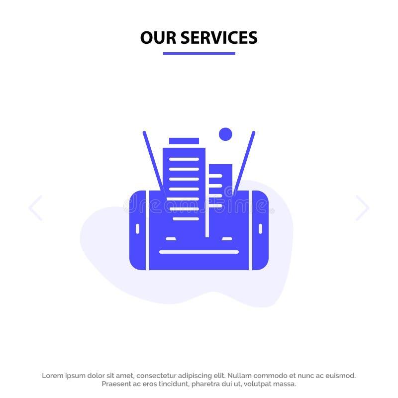 Unsere Dienstleistungen beweglich, Zelle, Technologie, errichtende feste Glyph-Ikonen-Netzkarte Schablone lizenzfreie abbildung