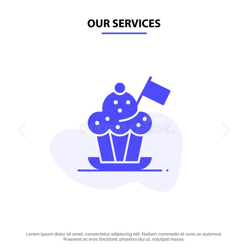 Unsere Dienstleistungen Chef, Chef Hat, Kocher, Kocher-Hut, Flagge feste Glyph-Ikonen-Netzkarte Schablone vektor abbildung