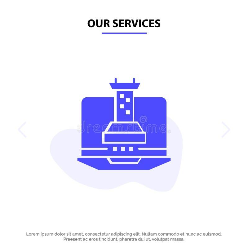 Unsere Dienstleistungen Digital, Strategie, Digital-Strategie, vermarktende feste Glyph-Ikonen-Netzkarte Schablone lizenzfreie abbildung