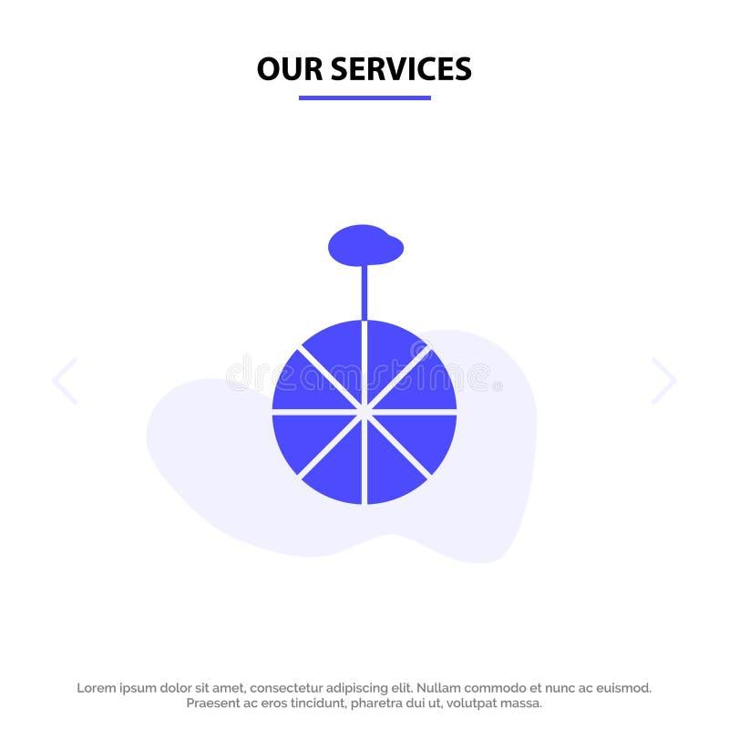 Unsere Dienstleistungen drehen sich, fahren, Zirkus feste Glyph-Ikonen-Netzkarte Schablone rad stock abbildung