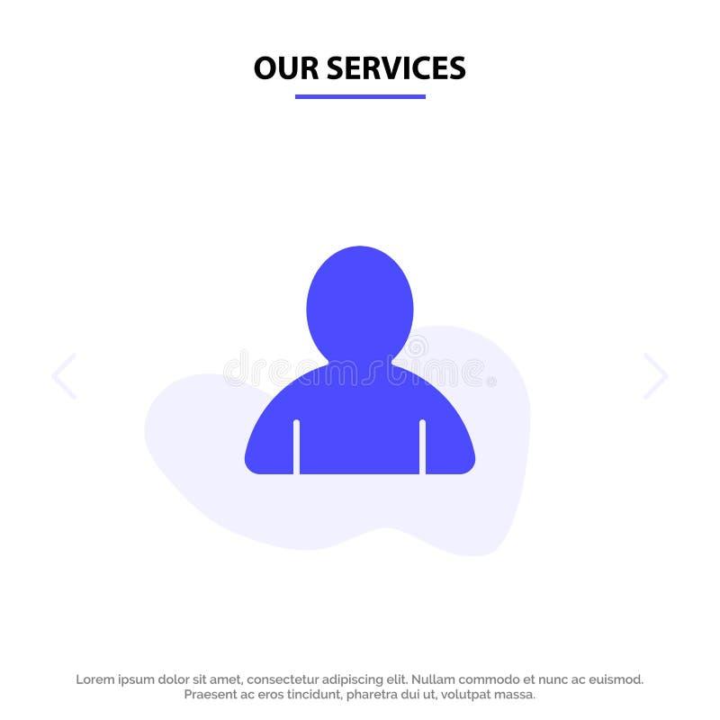 Unsere Dienstleistungen erklären, Avatara, Benutzer feste Glyph-Ikonen-Netzkarte Schablone lizenzfreie abbildung