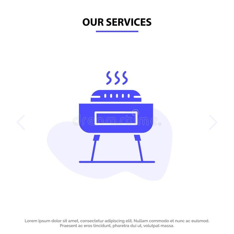 Unsere Dienstleistungen grillen, Feier, Festlichkeit, Feiertag feste Glyph-Ikonen-Netzkarte Schablone stock abbildung