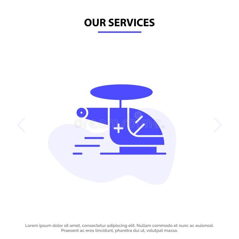 Unsere Dienstleistungen Hubschrauber, Zerhacker, medizinisch, Krankenwagen, luftsolide Glyph-Ikonen-Netzkarte Schablone stock abbildung