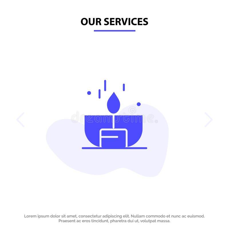 Unsere Dienstleistungen leuchten, Dunkelheit, Licht, Feuerzeug, Glanz feste Glyph-Ikonen-Netzkarte Schablone durch vektor abbildung