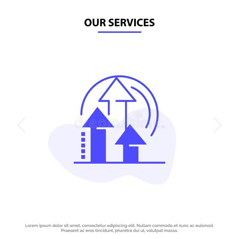 Unsere Dienstleistungen Management, Methode, Leistung, Produkt feste Glyph-Ikonen-Netzkarte Schablone vektor abbildung