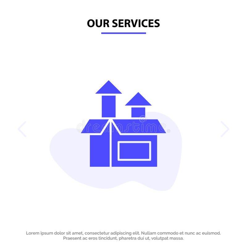 Unsere Dienstleistungen Management, Methode, Leistung, Produkt feste Glyph-Ikonen-Netzkarte Schablone stock abbildung
