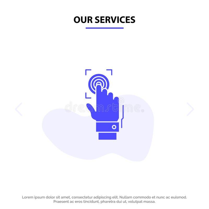 Unsere Dienstleistungen nehmen, Identität, Anerkennung, Scan, der Scanner Fingerabdrücke und scannen feste Glyph-Ikonen-Netzkarte stock abbildung