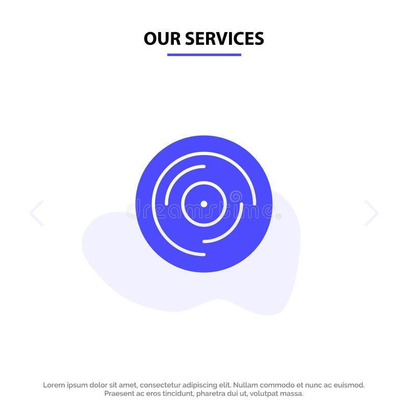 Unsere Dienstleistungen schlugen, DJ und jonglierten und verkratzten, solide feste Glyph-Ikonen-Netzkarte Schablone lizenzfreie abbildung