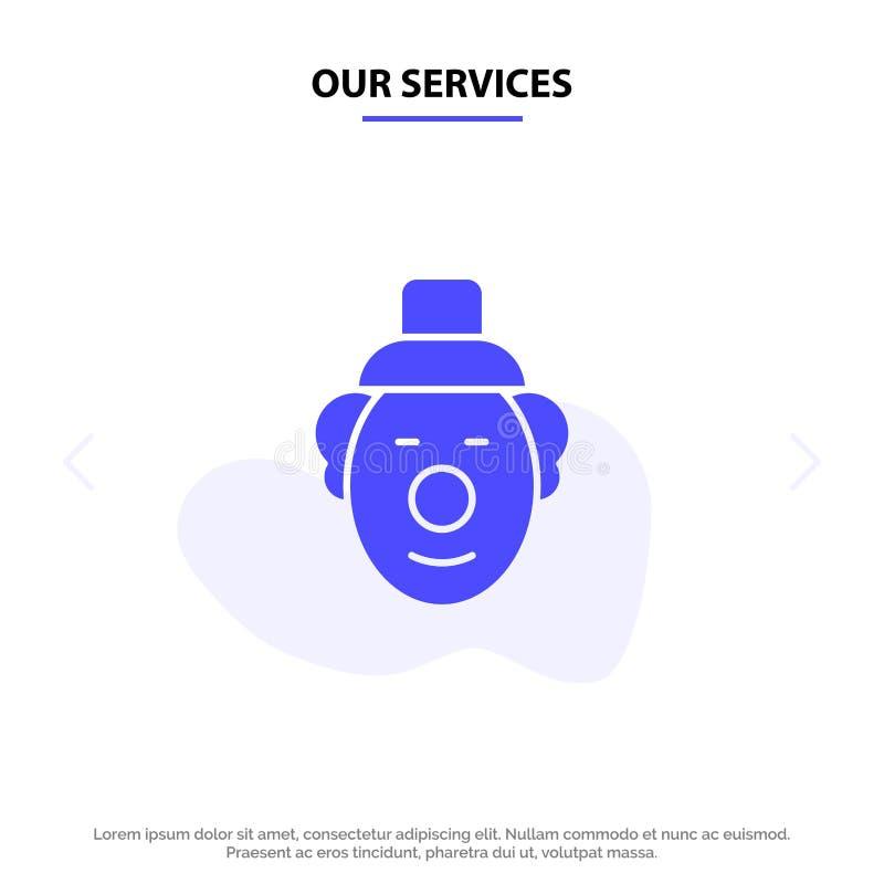Unsere Dienstleistungen Spassvogel, Clown, Zirkus feste Glyph-Ikonen-Netzkarte Schablone lizenzfreie abbildung