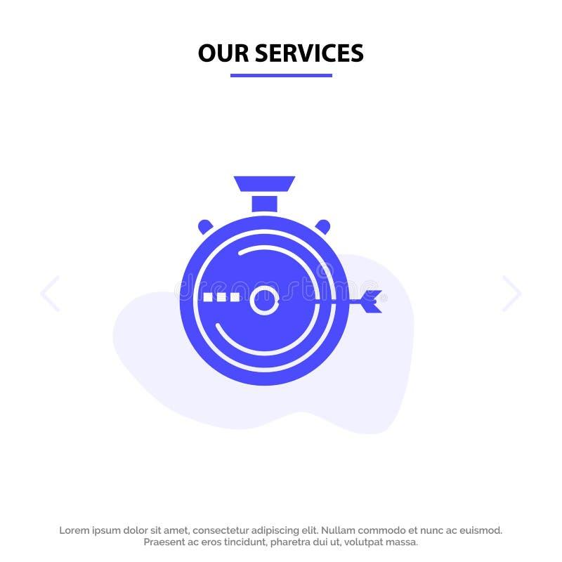 Unsere Dienstleistungen starten, Management, Optimierung, Freigabe, Stoppuhr feste Glyph-Ikonen-Netzkarte Schablone vektor abbildung