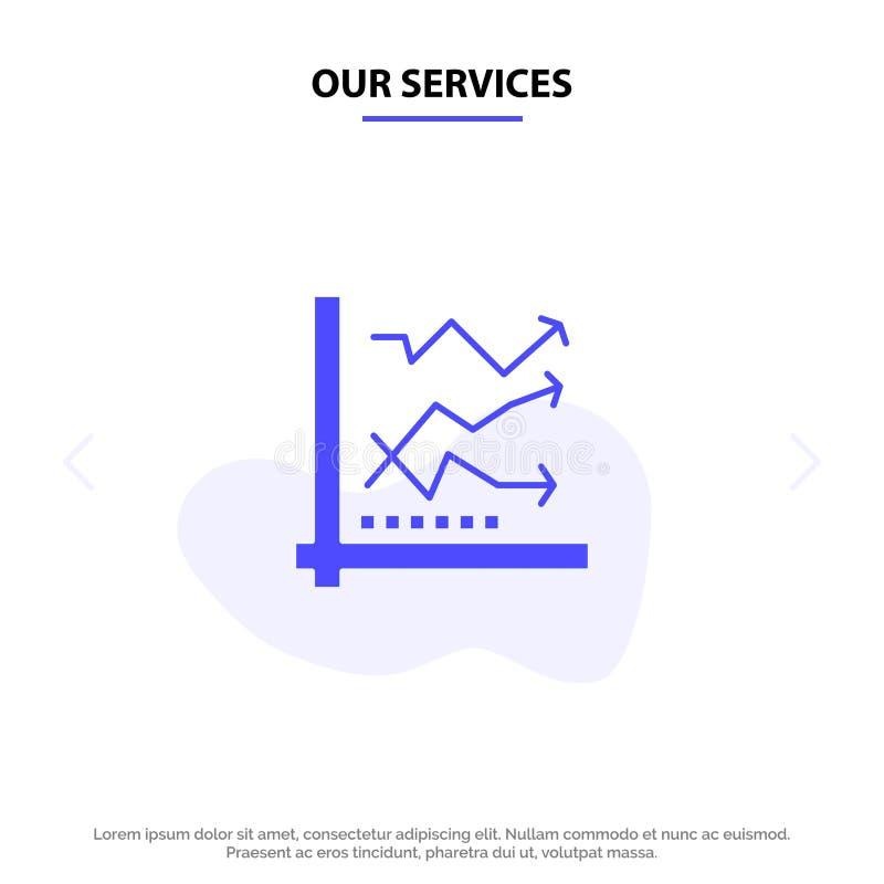 Unsere Dienstleistungen stellen, die Analyse grafisch dar, analytisch, Analytics, Diagramm, Daten feste Glyph-Ikonen-Netzkarte Sc lizenzfreie abbildung