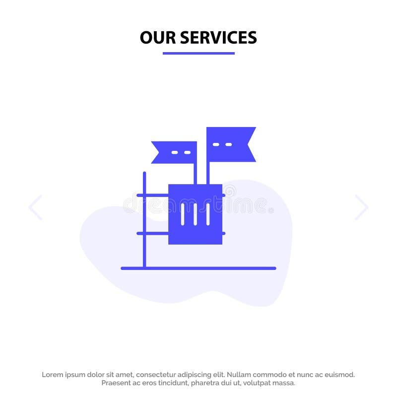 Unsere Dienstleistungen stimmen ab, boykottieren, Wahl, Abfall, Kram feste Glyph-Ikonen-Netzkarte Schablone lizenzfreie abbildung
