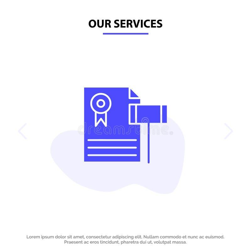 Unsere Dienstleistungen versteigern, die Weinlese, teuer, Kies, Richter-Solid Glyph Icon-Netzkarte Schablone stock abbildung