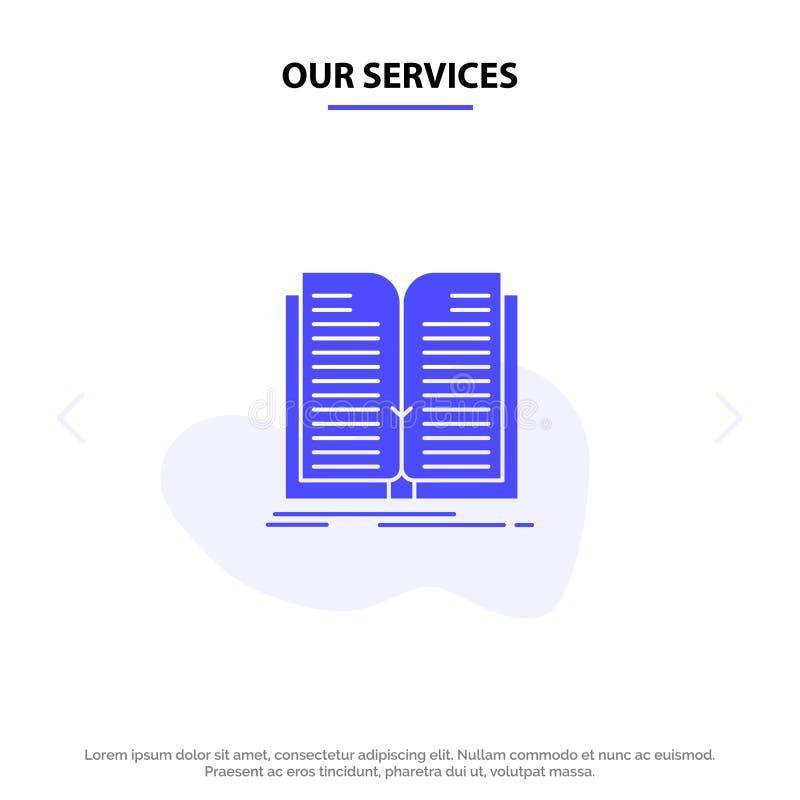Unsere Service-Anwendung, Datei, Übertragung, Buch feste Glyph-Ikonen-Netzkarte Schablone stock abbildung