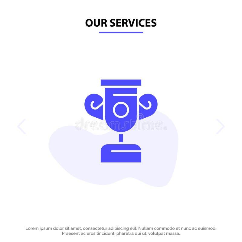 Unsere Service-Ausbildung, Fortschritt, ausbildende feste Glyph-Ikonen-Netzkarte Schablone lizenzfreie abbildung