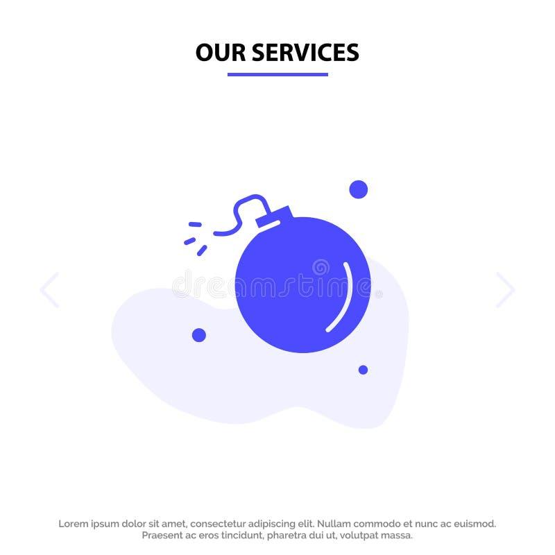 Unsere Service-Bombe, Komet, Explosion, Meteor, Wissenschaft feste Glyph-Ikonen-Netzkarte Schablone stock abbildung