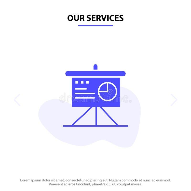 Unsere Service-Darstellung, Analytics, Brett, Geschäft feste Glyph-Ikonen-Netzkarte Schablone vektor abbildung
