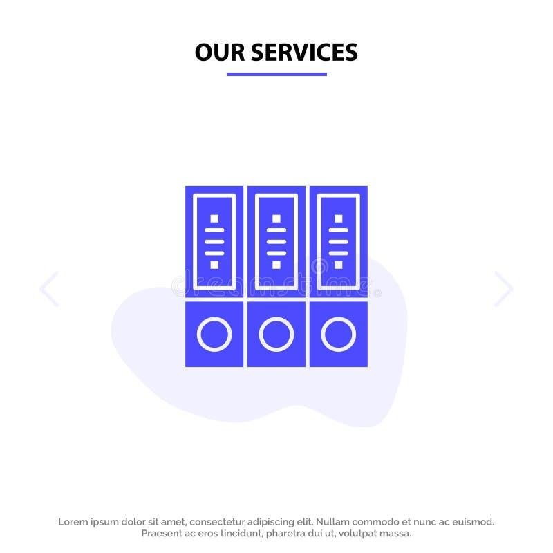 Unsere Service-Dateien, Archiv, Daten, Datenbank, Dokumente, Ordner feste Glyph-Ikonen-Netzkarte Schablone stock abbildung