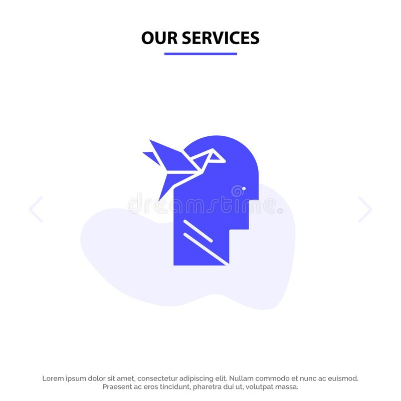 Unsere Service-Fantasie-Form, Fantasie, Kopf, Brian Solid Glyph Icon Web-Karte Schablone stock abbildung