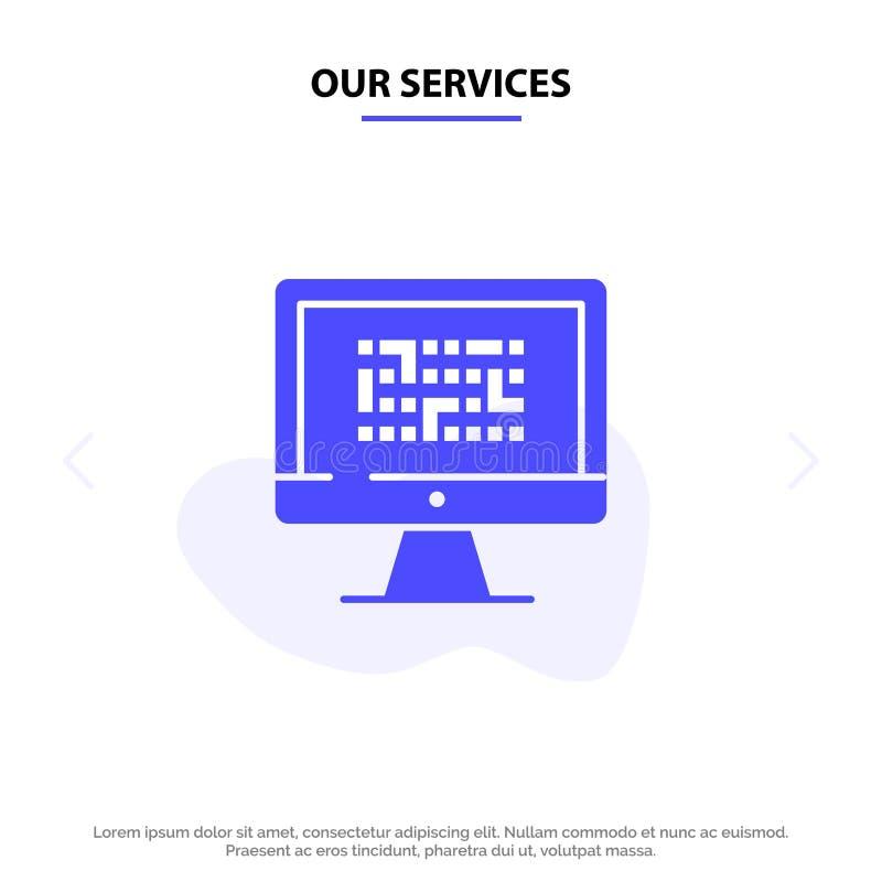 Unsere Service-Kriptographie, Daten, Ddos, Verschlüsselung, Informationen, Problem feste Glyph-Ikonen-Netzkarte Schablone stock abbildung