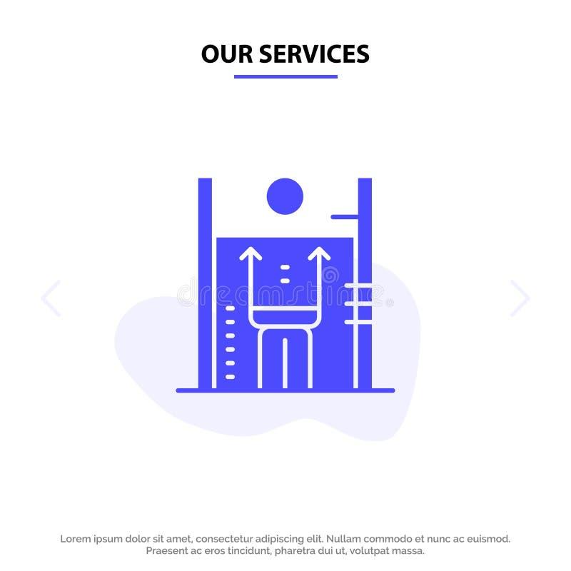 Unsere Service-Leistung, Wachstum, Mensch, Verbesserung, Management feste Glyph-Ikonen-Netzkarte Schablone vektor abbildung
