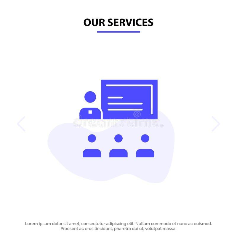 Unsere Service-Teamwork, Geschäft, Mensch, Führung, Management feste Glyph-Ikonen-Netzkarte Schablone lizenzfreie abbildung