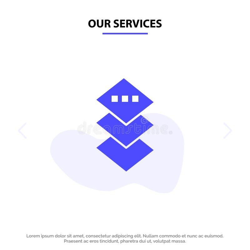 Unsere Services Design, Plane, Square Solid Glyph Icon Webkartenvorlage vektor abbildung
